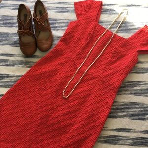Adrianna Papell Red Textured Dress